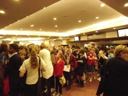 Kids queueing in the foyer AWRF2012
