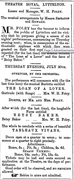 Papers Past clipping from Page 5 Advertisements Column 2 Lyttelton Times, 25 July 1857