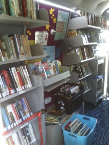 Photo of the interior of the Mobile Library van