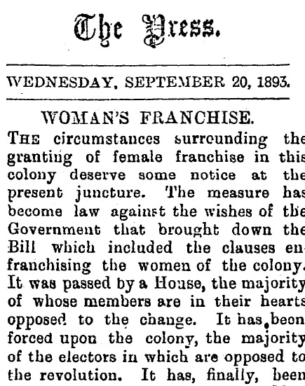 20 September 1893 copy of The Press