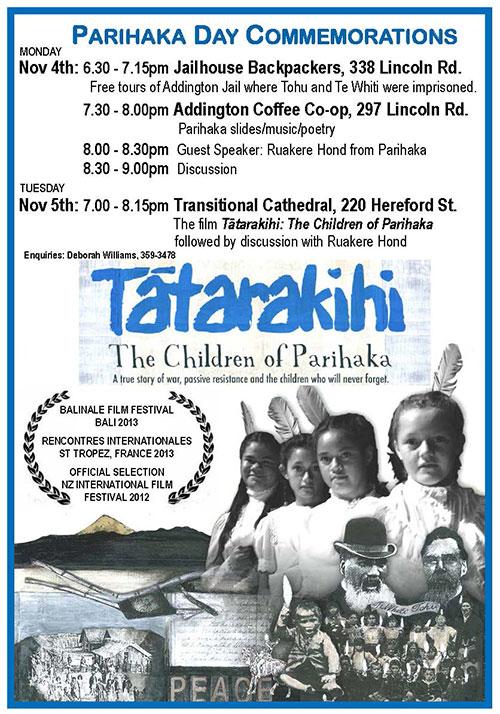 PDF of Parihaka commemorations in Christchurch