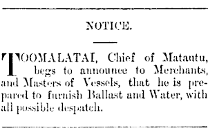 Advertisement, Samoa Times and South Sea Gazette, Volume 2, Issue 65, 28 December 1878, Page 1