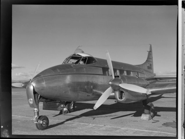 De Havilland Dove ZK-AQV aircraft, location unidentified.