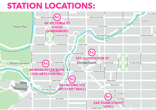 Station locations, Spark Bikes