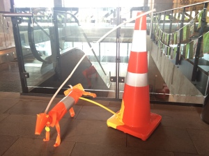 Road cone as dog toilet