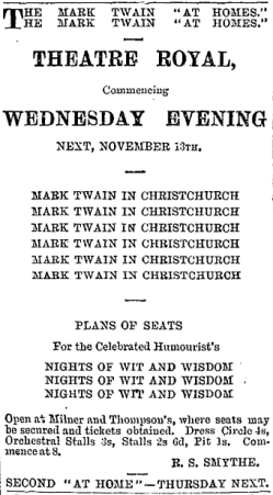 Newspaper advertisement for Mark Twain's performances [1895]