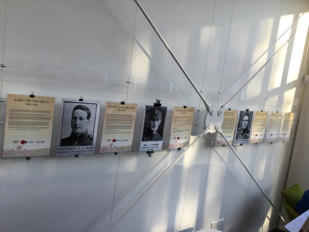 Posters of Halswell Heroes on display at Te Hāpua: Halswell Centre