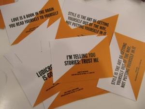 Author quote postcards at Auckland Writers Festival 2016