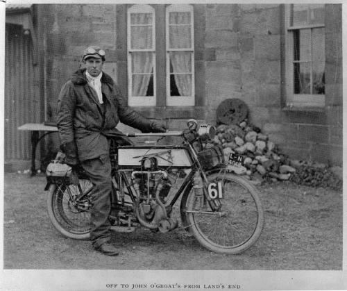 Anthony Frederick Wilding on a motorcycle.