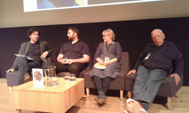 Toby Manhire, Toby Morris, Sharon Murdoch and Peter Bromhead at WORD Christchurch.
