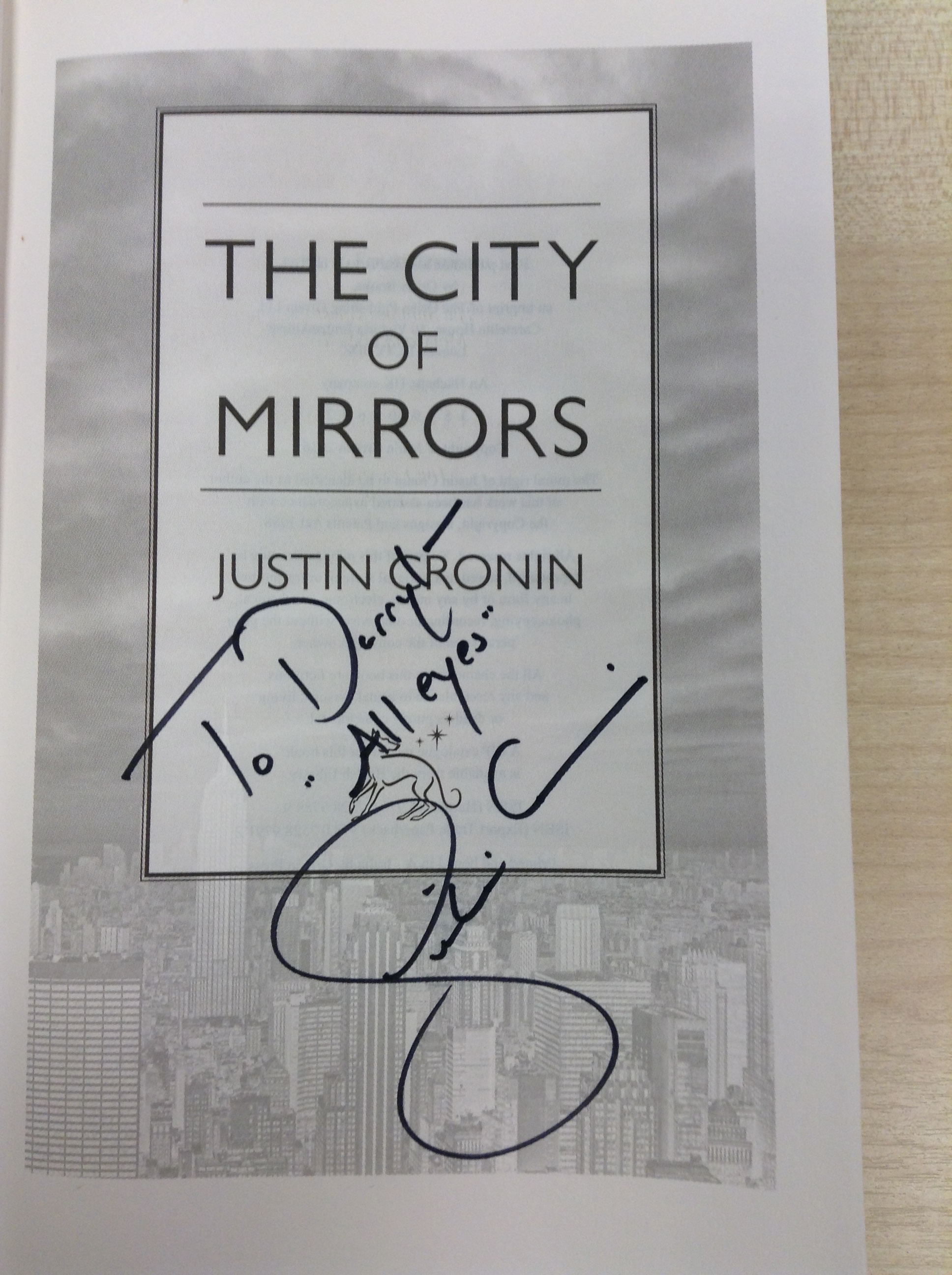 Signed copy of The City of Mirrors