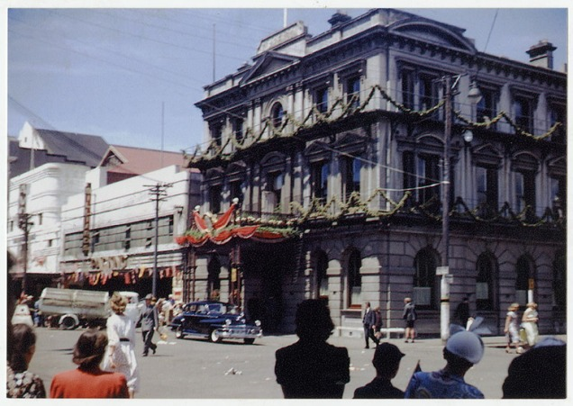 Outside the Clarendon Hotel at the time of the Royal Visit, 1953