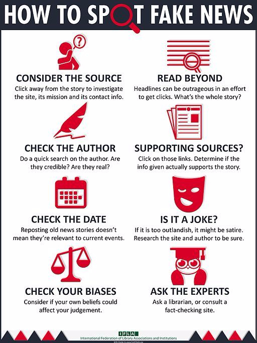 How to spot fake news, IFLA infographic