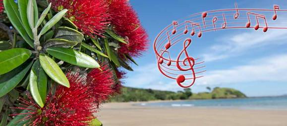 Pohutukawa and music notes