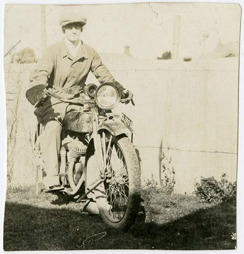 Charlotte on a motorbike, ca. 1923