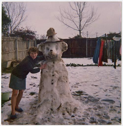 Making a Yogi Bear Snowman in the evening