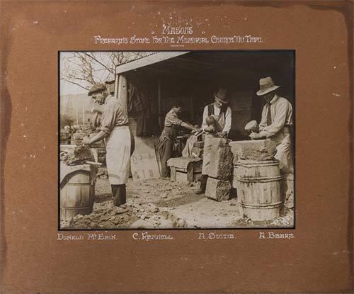 Masons preparing stone for the Memorial Church Tai Tapu