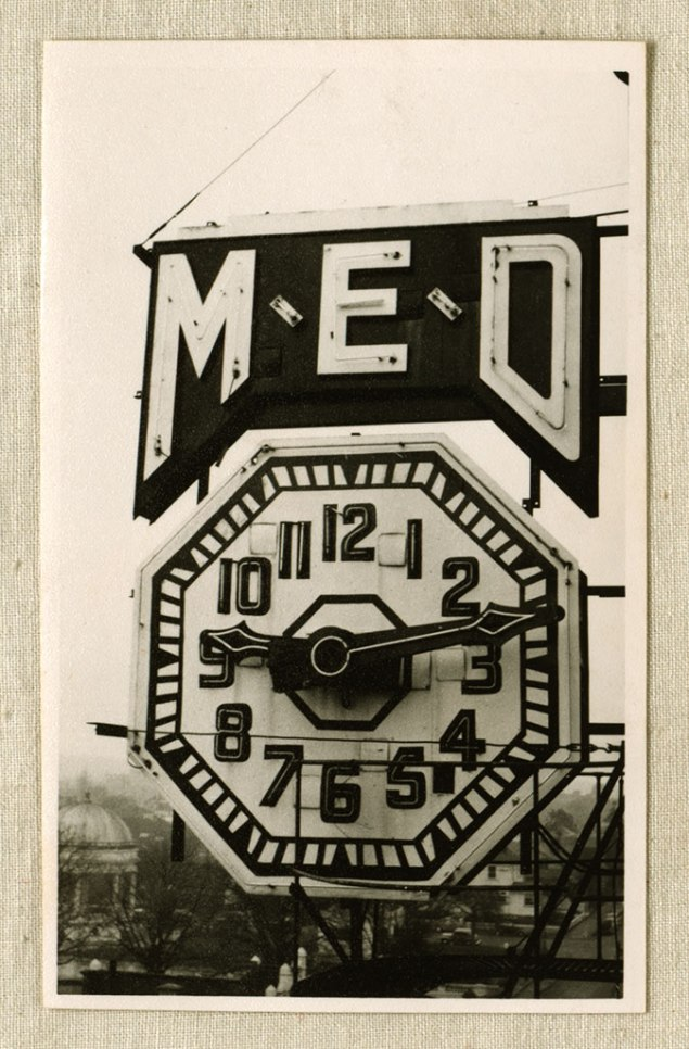 Close view of M.E.D clock, 1939