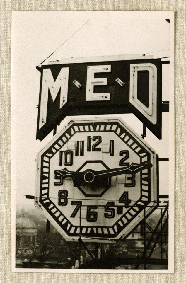 Close view of M.E.D clock, 1939