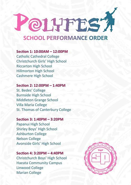 Polyfest 2018 school performance times