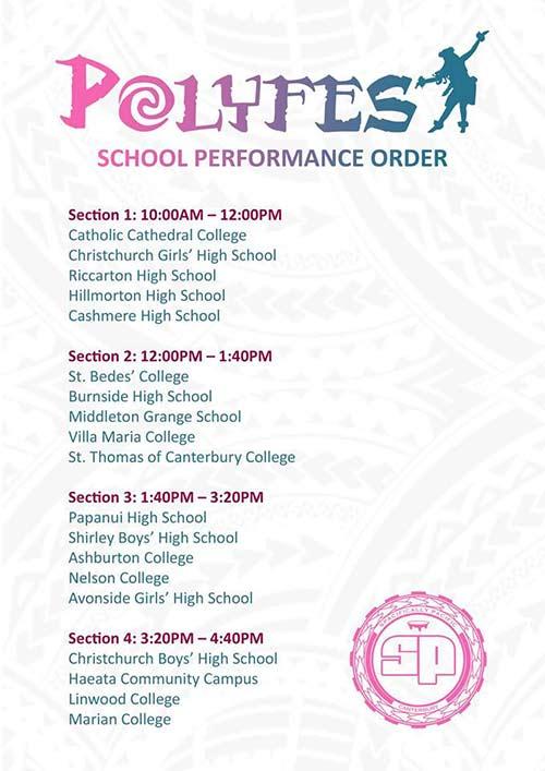 Polyfest 2018 school performance times