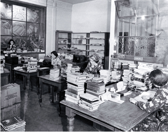 Cataloguing and processing staff of the Canterbury Public Library in their workroom in Cambridge Terrace, 1953