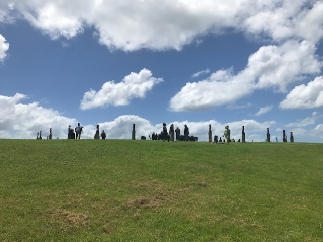 32 pou on a hill at Te Aurere