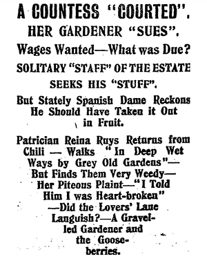 "Newspaper headline from A COUNTESS ""COURTED"". NZ TRUTH, ISSUE 243, 19 FEBRUARY 1910"